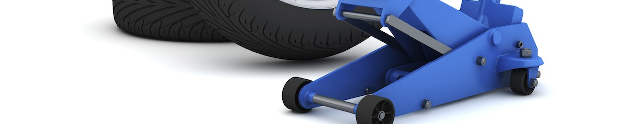 car jack and wheels isolated with clipping path