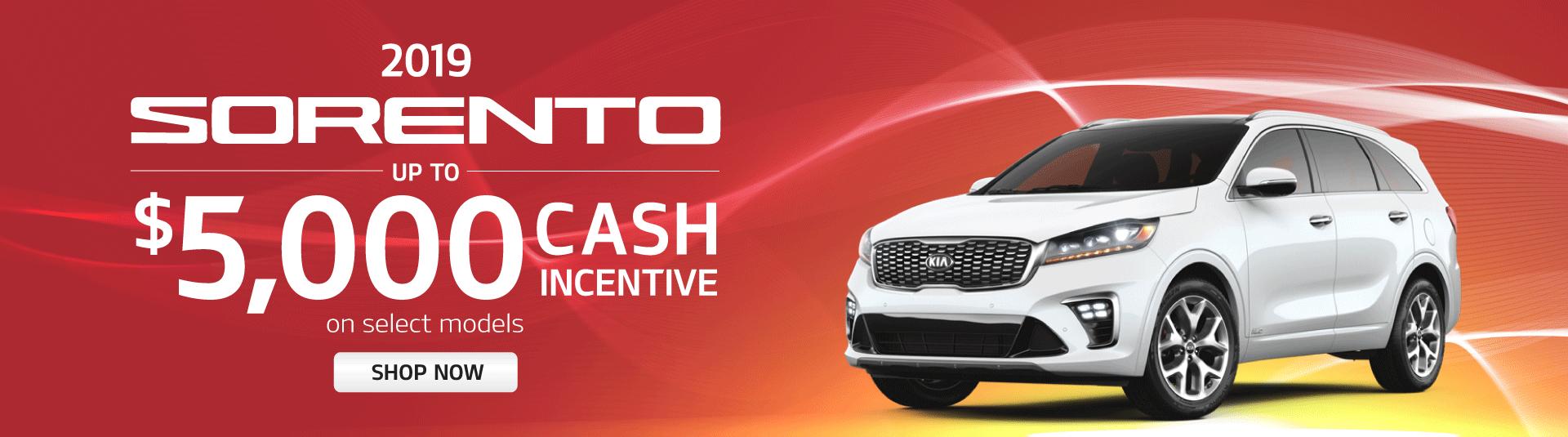 2019 Sorento 5,000 Cash Incentive Mississauga Kia